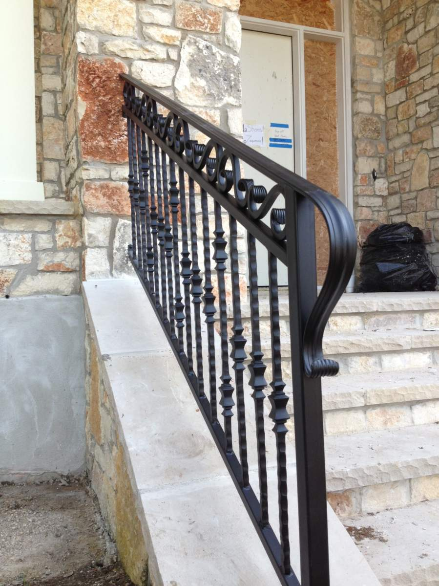 Outdoor iron stair railing - Outdoor Traditional Stair Railing Golden Maize